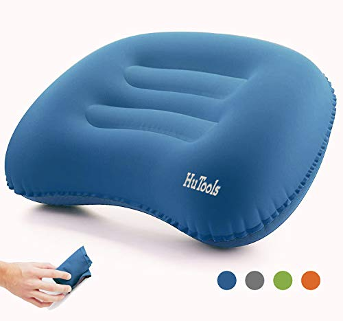 HuTools Inflatable Camping Pillow Backpacking Pillow Lightweight Travel Air Pillow Ultralight Ergonomic Pillow Portable for Airplanes and Road Trips with Neck & Lumbar Support (Blue)