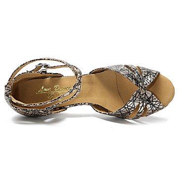 Personalizables Stiletto Negro Tacón Gold Zapatos de Plata Jazz Latino baile No Oro q7WfW8H