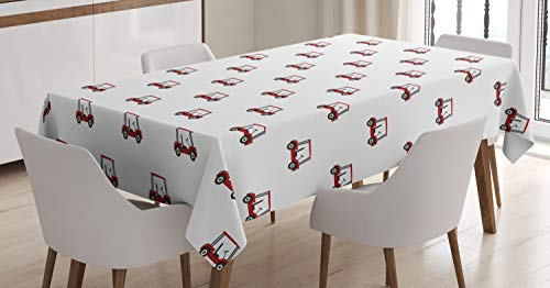 Ambesonne Golf Tablecloth, Carts Pattern Golfing Stroke Play Hobby Game Sports Leisure Concept, Rectangular Table Cover for Dining Room Kitchen Decor, 60