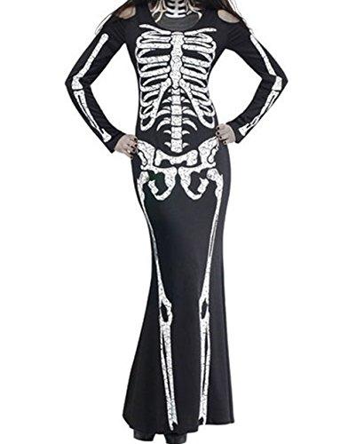METERDE Women's Black Halloween Costumes Long Skeleton Evil Club Show Dress (Evil Bunny Costume)
