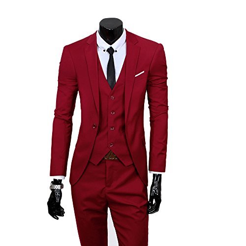 Men's Slim Fit Peak Lapel Suit Blazer Jacket Tux Vest (Red Wool Blazer Jacket)