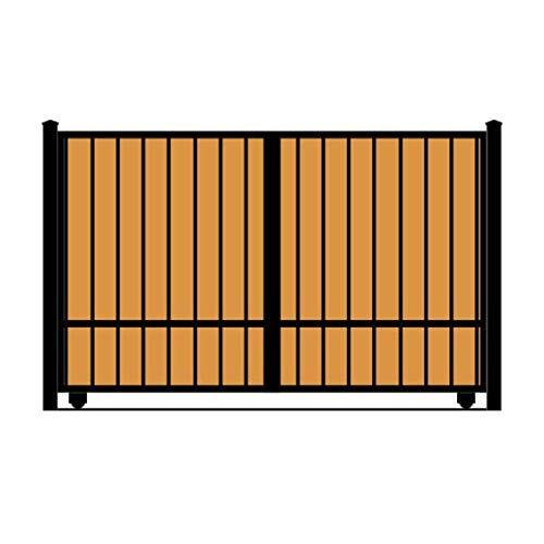 StandardGates - Wooden Wrought Iron Driveway Gate Kit - 10 ft 0 in, Solo Slide, Single Pickets, Vertical Ironwood (Iron Driveway Gates)