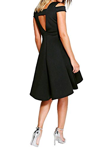 Fantaist Women's Cold Shoulder Backless High Low Party Dress for Wedding Guest (XS, FT615-Black)