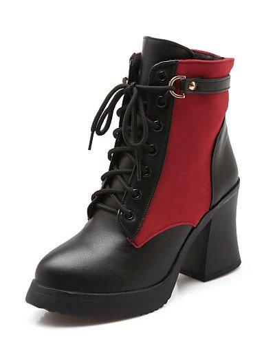 Vestito Gros Punta Stivali Beige Scarpe Red Wool XZZ Eu36 Rosso moda Uk4 us6 donna alla da Cn36 Nero Casual tonda Heel 8tnvg7