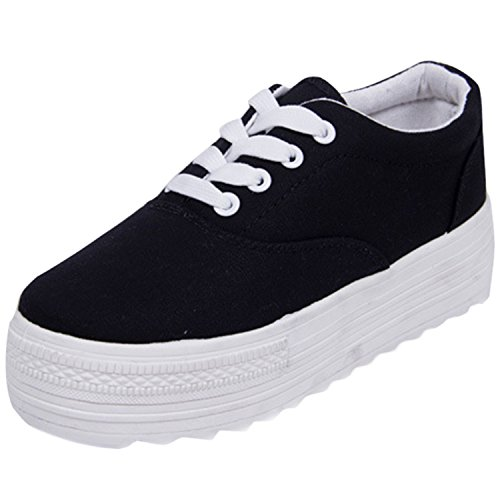 Canvas Platform ASVOGUE Grey Sneakers Color Solid Lace up Flat Women's f0YqAfH
