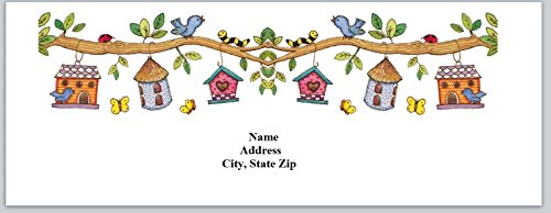 (120 Personalized Address labels Birdhouses (bh 7))