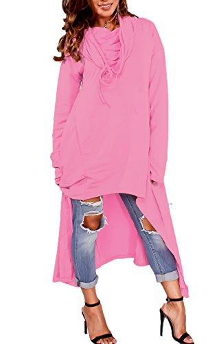 Playworld Womens Irregular Hem Loose Long Sleeve Hooded Tunic Top Dress Pink-XXXXL