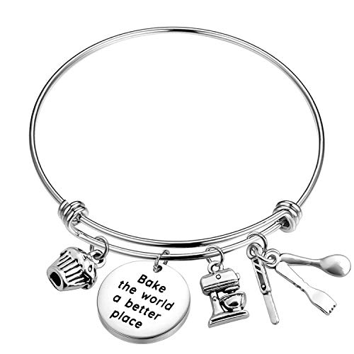 MAOFAED Gift for Baker Bake The World a Better Place Culinary Student Gifts Bake Lover Keychain Gift (Baker Bracelet)