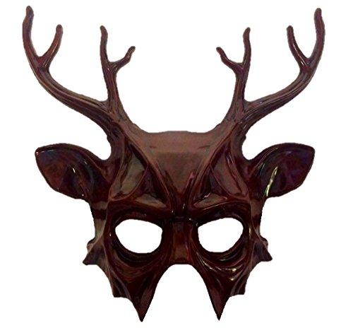 Red Deer Half Mask & Antlers Adult Christmas Animal Venetian Costume Accessory -