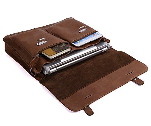 DRF Leather Business Messenger Bag Satchel Briefcase for Men Laptop Office Bag BG-263 (Brown) by DRF (Image #3)