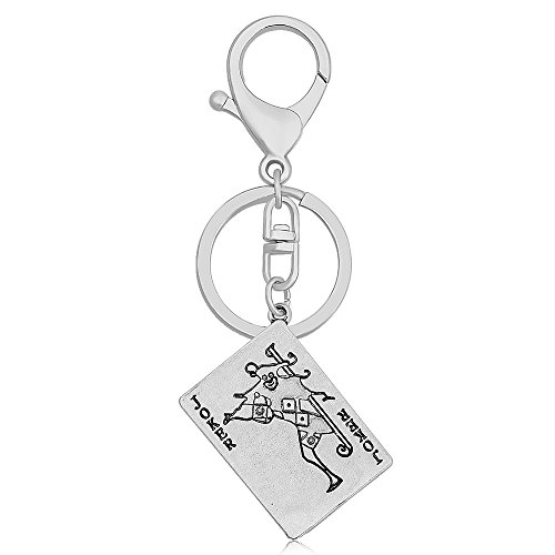 CHUANGYUN Retro Style Punk Rock Playing Card Poker Tag Keychain (Ancient Silver 1)