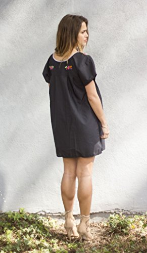 Liliana Cruz Embroidered Mexican Peasant Mini Dress (Black size X-large) by Liliana Cruz (Image #2)
