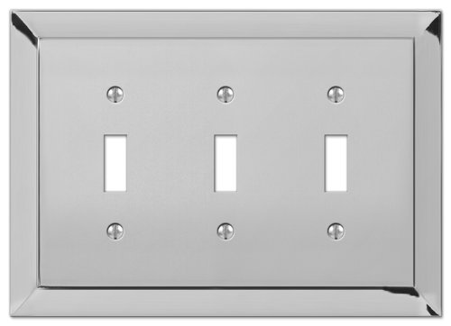 Amerelle 61TTTCH Studio Style 3 Toggle Wallplate, (Chrome Toggle Wall Plate)