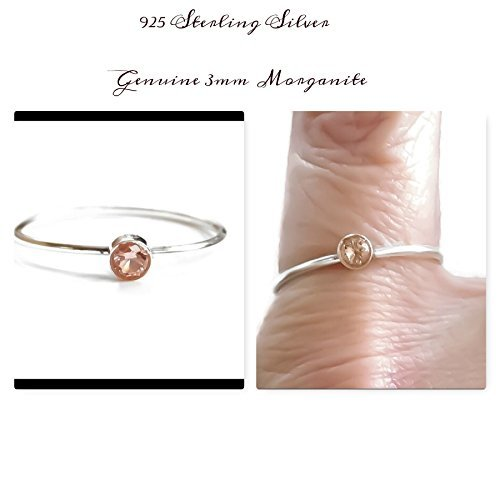 New Bezel Set (Genuine Morganite Bezel Set Gemstone Stacking Ring 925 Sterling Silver Sizes 2 3 4 5 6 7 8 9 10 11 12 13)
