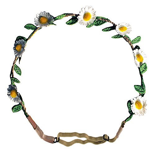 Mia Flashion Flowers-Flower Halo Headband That Lights Up! White Colored 1' Daisies With White Lights-3 Settings: Fast Flash, Slow Flash, Constant Light-Adjustable Strap-Battery Included AS SEEN ON TV