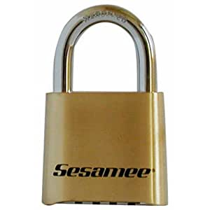Sesamee K436 4 Dial Bottom Resettable Combination Brass Padlock with 1-Inch Hardened Steel Shackle and 10,000 Potential Combinations