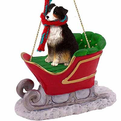 - Australian Shepherd Sleigh Ride Christmas Ornament Tricolor - DELIGHTFUL!