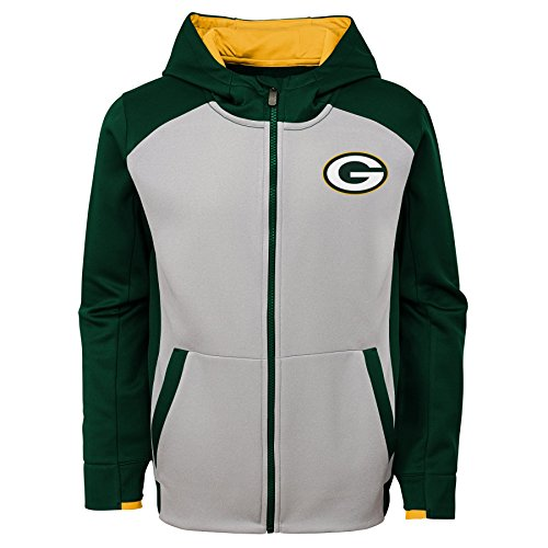 NFL Green Bay Packers Kids & Youth Boys Hi Tech Performance Full Zip Hoodie, Hunter Green, Kids -