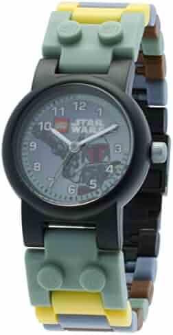 LEGO Star Wars Boba Fett Kids Buildable Watch with Link Bracelet and Minifigure | green/gray | plastic | 28mm case diameter| analog quartz | boy girl | official