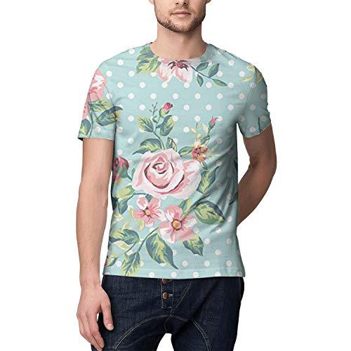 Hawaiian Tropical Floral Full Printed Short Sleeve Shirts Men Polyester ()
