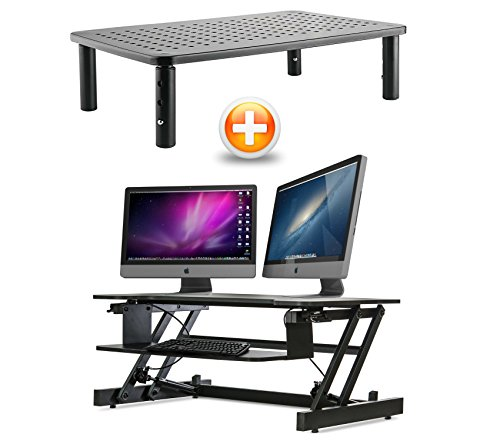 Monitor Stand Riser Vented For Computer Laptop Imac Printer And Stand Up Adjustable Desk Bundle  Sx32 Cas081  By Casiii