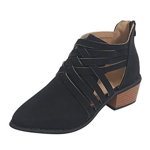 Riou Women Ladies Autumn Fashion Shoes Ankle Solid Roman Martin Short Boots Single Shoes Black