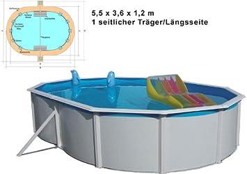 Juego de Pared Pool Acero Nuovo de Luxe Ovalado 5,5x 3,6x 1,2m Revestimiento de Acero Platillos de Piscina