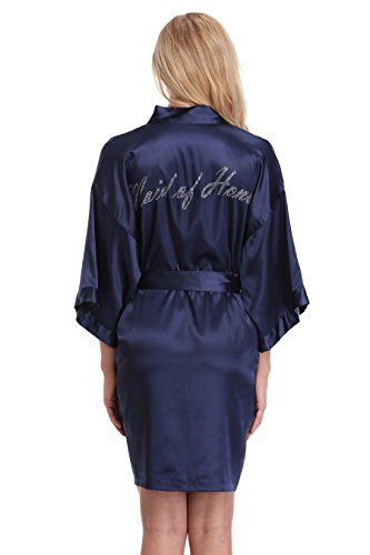 KimonoArt Satin Rhinestone Short Kimono Robe for Maid of Honor Navy Blue S]()