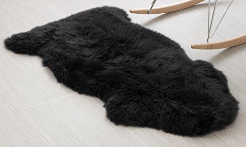 Genuine Australian Sheepskin Rug One Pelt Black Natural Fur, Single, Approx. 2ft. x 3ft.