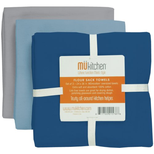 MUkitchen Cotton Flour Sack Towel, 24 by 36-Inches, Set of 3, ()