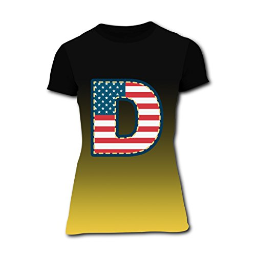Sized Monogram Flag - American Flag Name Monogram D Design T-Shirt Slim Tee Tops for Women XL