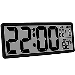 TXL 13.9 Inch Jumbo LCD Digital Alarm Clock with 4.6 inch Digits,Extra Large Electronic Wall Clock Display Date/Indoor Temperature/Fold-Out Stand Desk&Shelf Clock for Seniors Home Kitchen Office,Black