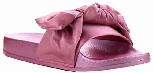CAPE ROBBIN Moira-19 Women Flip Flop Bow Satin Sandal Slide Slip On Flat Sandal Satin Shoe Slipper Pink B06ZZ5MD6Q Shoes 7fd28a