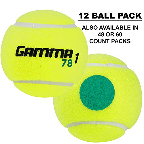 Gamma Sports Kids Training (Transition) Balls, Yellow/Green Dot, 78 Green Dot, 12-Pack