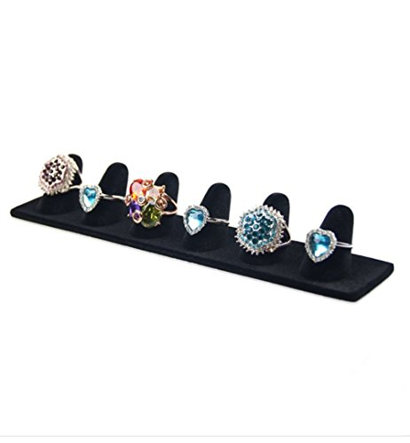 Ginasy 3 Pack Black Velvet Finger Ring Display Stands 8.27''Lx1.57''W, Jewelry Holder Showcase Organizer by Ginasy (Image #7)