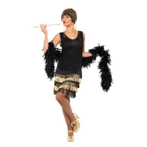 Smiffys 33676L Déguisement Femme Danseuse de Charleston à Frange des Années 20, Noir, Taille L