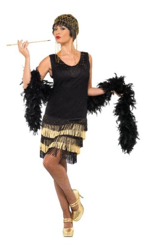 Flapper Costume Uk (Smiffy's Women's 1920 Fringed Flapper Costume, Dress with Lace Front and Beaded Fringing, 20's Razzle Dazzle, Serious Fun, Size 14-16, 33676)