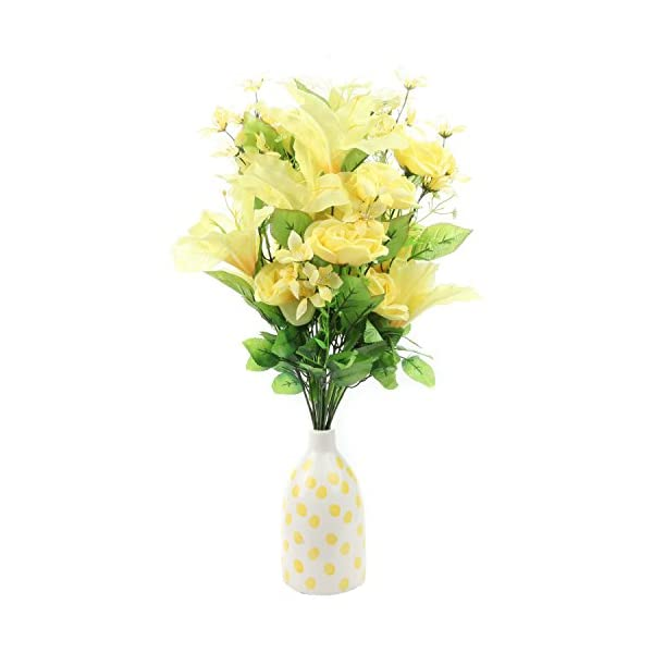 Home-X Bright Floral Bouquet with Tiger Lily, Camellia and Yellow Roses