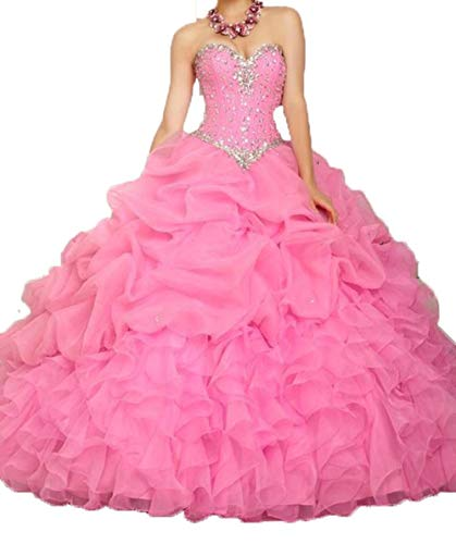 ANGELA Women's Ball Gown Organza Quinceanera Dresses Prom Gowns Hot Pink 16