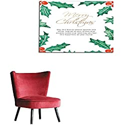 "homehot Photo Wall Paper Merry Christmas Card Template with Holly Mural 48""x32"""