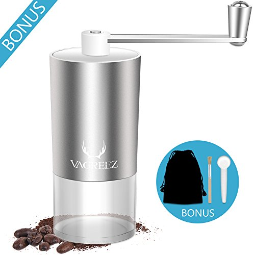 Manual Coffee Grinder Aluminum, Ceramic Conical Burr Grinder+ Coffee Bean Grinder Brush+ Hand Coffee Grinder Scoop, 1 Cup Coffee Burr Grinder for Espresso Drip French Press Aeropress Coffee Maker