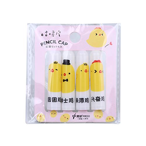 1KTon Creative Student Stationery Cute Chick Pencil Cap Student Pencil Extender for Kids