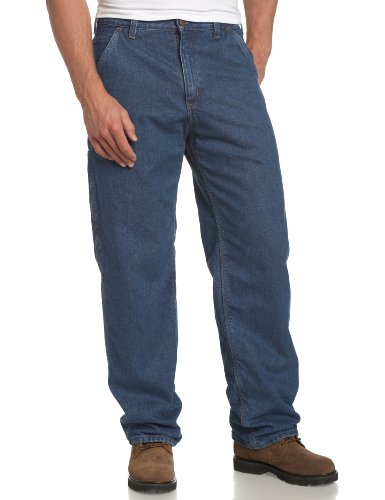 Carhartt Men's Washed Duck Work Dungaree Flannel Lined Pants, Darkstone, 30x30