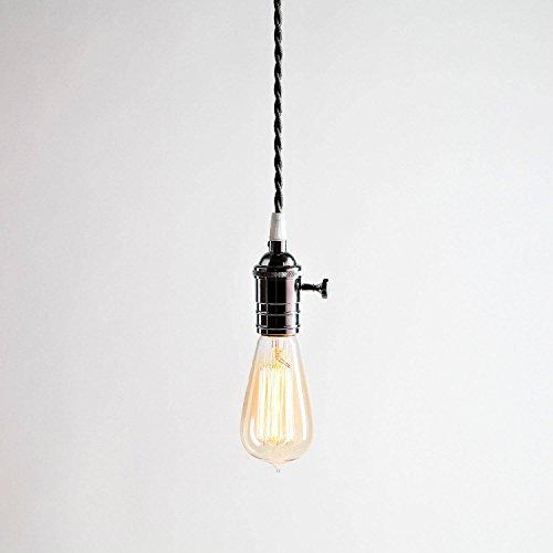 1 Grey Pendant Cord Light With Vintage Edison Style Bulb Single Chrome Socket Twisted