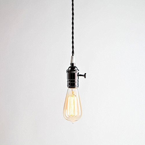 Brass 1 Bulb (1 Grey Pendant Cord Light with 1 Vintage Edison Style Bulb, Single Chrome Socket, Twisted Cord)