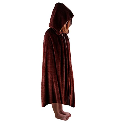 [Aoneitem Kids Child Christmas Cosplay Hooded Cloak Cape Role Play Costumes (Medium, Brown)] (Cape Velvet Child Costumes)