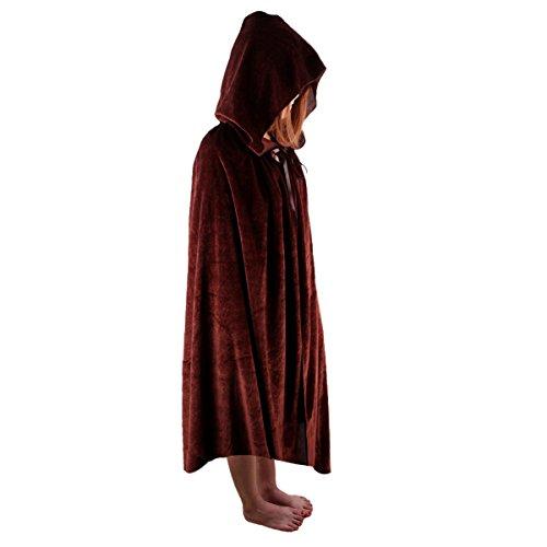 SUNYIK Unisex Kids Velvet Long Hooded Cloak Cape Halloween Party Role Cosplay -