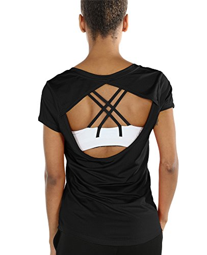 icyzone Open Back Workout T-Shirts for Women - Running Gym Shirts Yoga Tops Exercise Short Sleeves (S, Black)