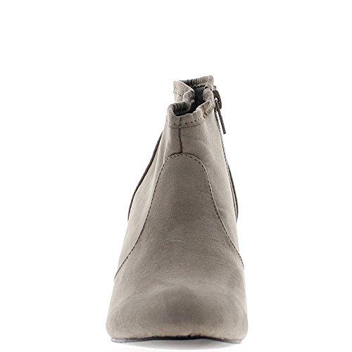 Botas a mujer gris en el tacón de 7cm