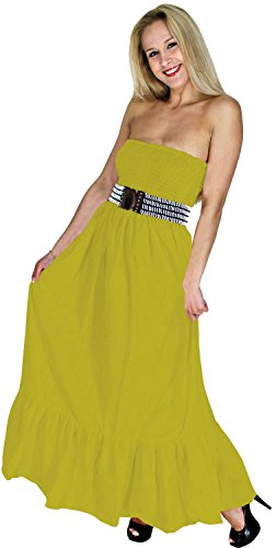 La Leela Solid Color Halter Partywear Smocked Long Tube Dress Yellow